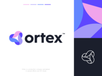 Ortex Logo Design clever smart elements film video colorful production ui branding vortex abstract simple lines brand identity symbol mark logo