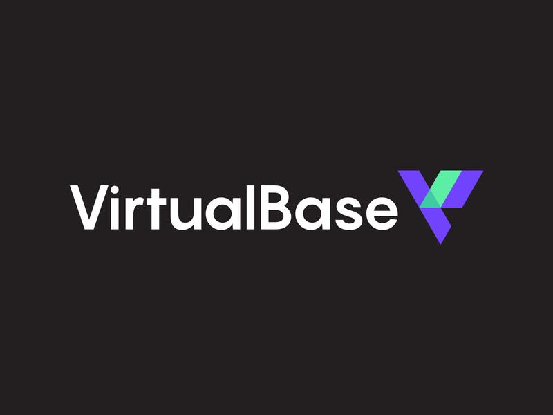 Virtual Base Logo Design baseline clever simple lines brand identity symbol mark technology tech reality augmented logodesign logo base virutal