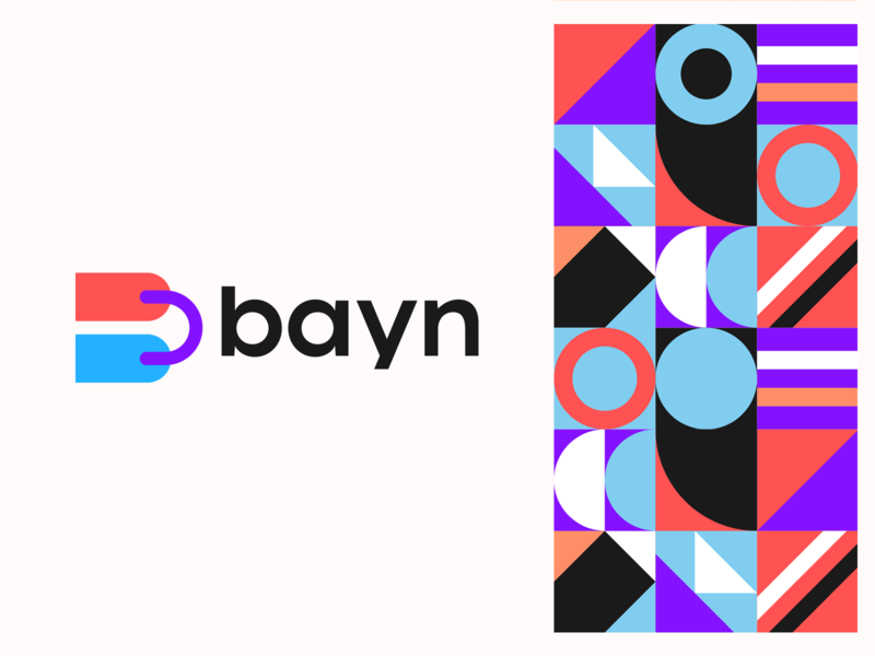 Bayn Logo Design pattern shapes clever letter tag price shopping bag abstract simple lines brand identity symbol mark logo