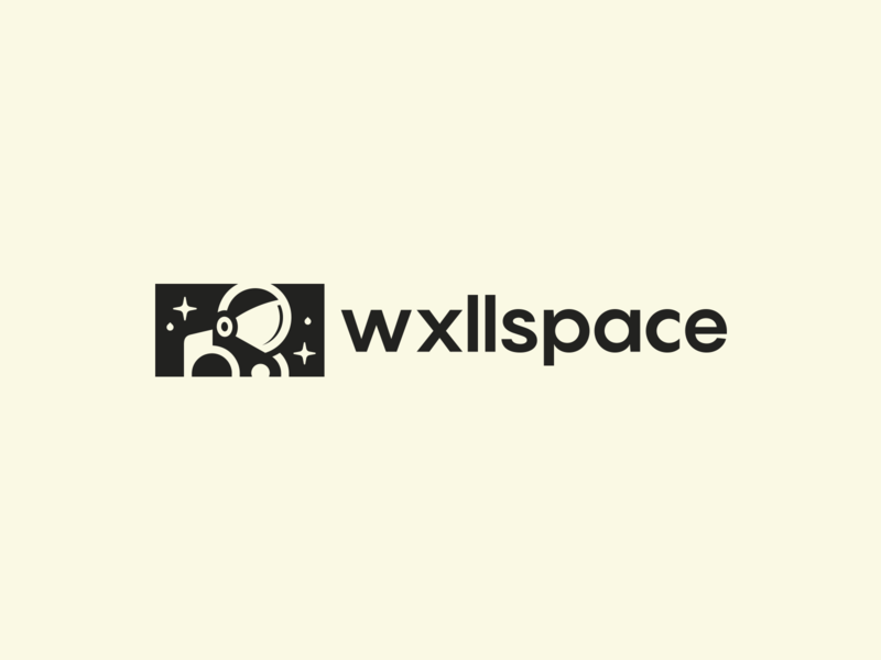 Wxllspace Logo Design paint drop star galaxy wall art artist mural wall space simple design clever brand identity symbol mark astronauts logo astronaut