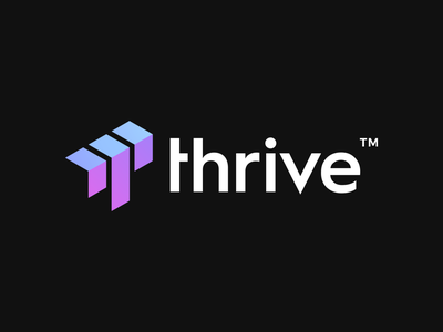 Thrive Logo Design ai thrive success up arrows arrow t letter logotype initial branding design clever brand identity symbol mark logo