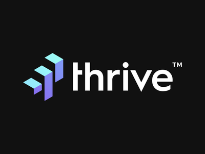 Thrive Logo Design Second Concept elegant strong modern thrive success up stairs letter type t smart brand simple design branding clever identity symbol mark logo