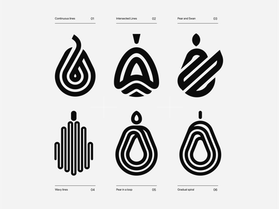 Pear Logo Designs fruit logo versions logoset pears adobe best sketches logos fruits pearl lines smart design clever abstract brand identity symbol mark logo