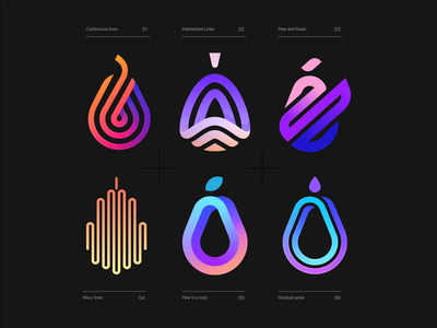 Pear Logos fruits adobe unique best modern color colorful marks fruit pear branding design abstract simple lines brand identity symbol mark logo