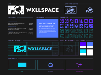 WxllSpace - Branding, Identity & Logo Design modern space astronaut wall clever design icons set concept typefaces colors spacing brand identity icons simple lines brand identity symbol mark logo