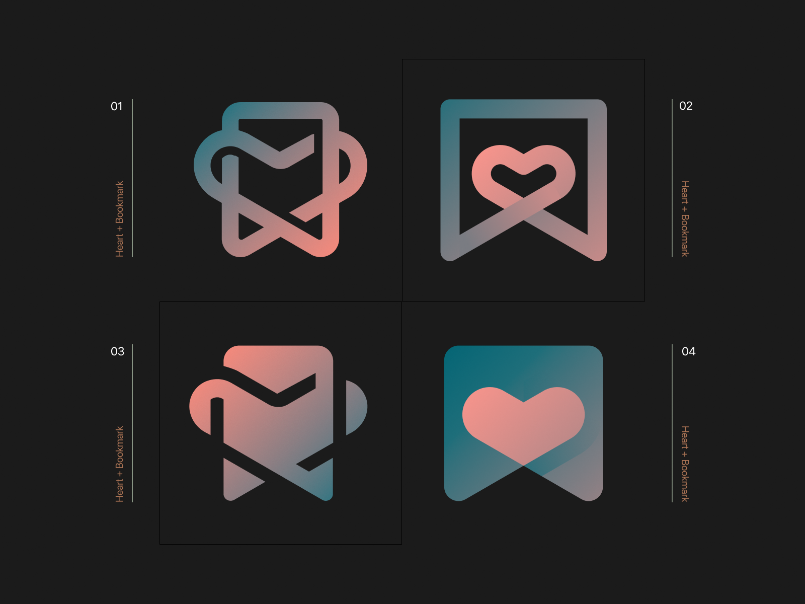 Heart + Bookmark Logo Concepts