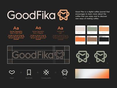 Good Fika Logo & Branding - Digital Journal food elegant feel feelings perfect best heart save bookmark book clever smart design simple lines brand identity symbol mark logo