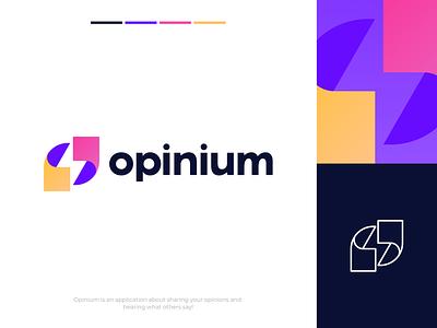 Opinium - Branding, Identity & Logo Design illustration best concept branding lightning bolt light share bubble talking chat talk design lines brand identity symbol mark logo