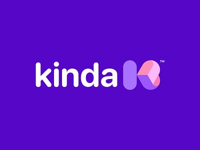 Kinda Logo Design love initial modern color colorful soft letter k heart ui illustration design simple lines brand identity symbol mark logo