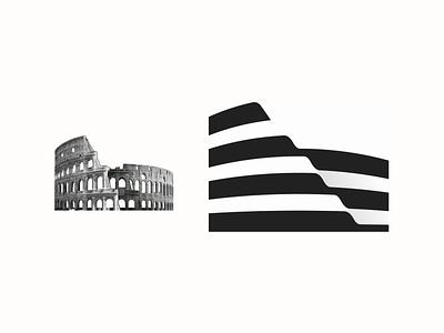 Colosseum Logo Design illusion graphic design design smart illustration clever strong rome best branding colosseum simple lines brand identity symbol mark logo