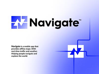 Navigate Logo Design app guide direction arrows map initial letter n navigation gps ui illustration design simple lines brand identity symbol mark logo