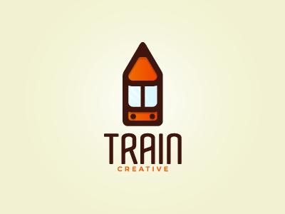 Train Creative V2 tunel pen pencil clever orange logo creative train