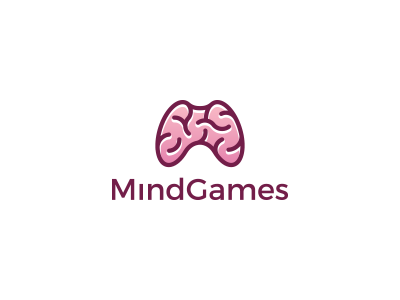 Mind games clever lines simple gamer identity brand logo smart brain controller game mind