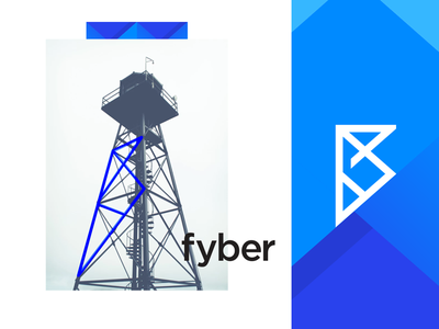 Fyber tower line network identity smart clever simple lines brand mark symbol logo