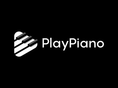 Play Piano smart clever abstract lines brand identity symbol mark logo play button play keyboard piano