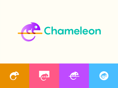 Chameleon clevery unique modern colors chameleon clever lines simple abstract brand identity symbol mark logo