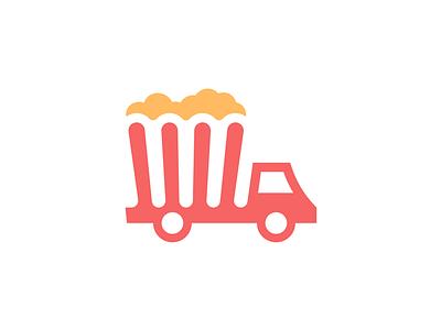 Popcorn / Truck vector design clever simple lines brand identity symbol mark logo transport truck popcorn