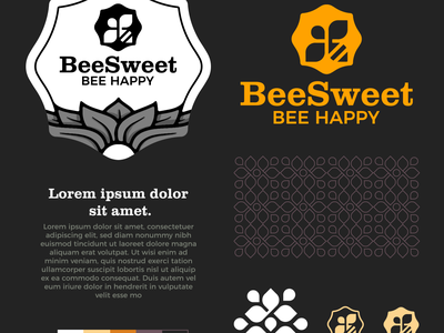 BeSweet Logo clever illustration vector bee hive emballage pattern bee brand identity symbol mark logo