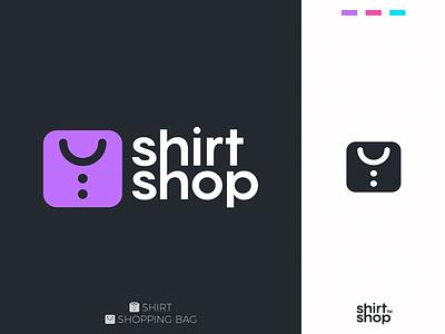 ShirtShop typography branding vector smart design clever simple shop shirt lines brand identity symbol mark logo