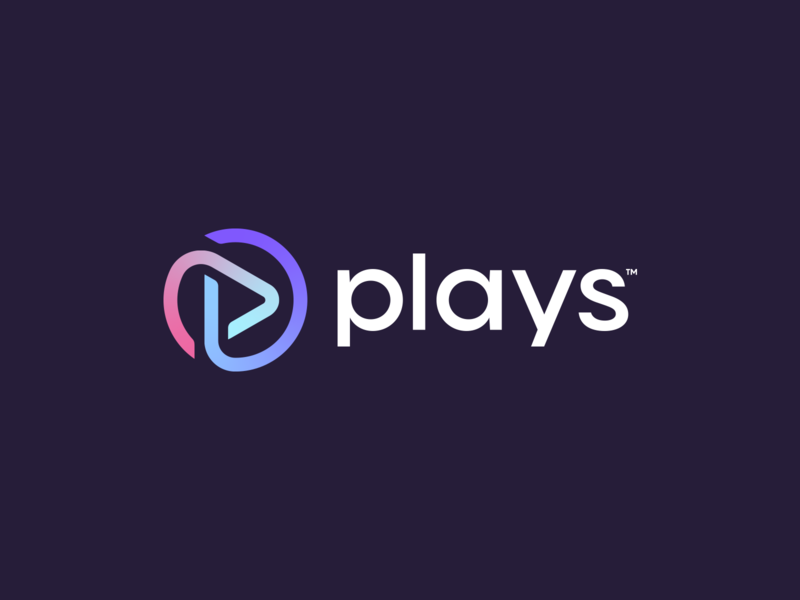 Plays Logo Design radio streaming movie music play play button letter initial p abstract lines brand identity symbol mark logo