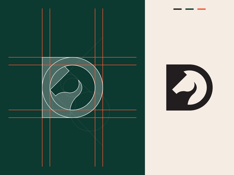 Horse + D Letter Logo Concept initials horse d initial clever animal abstract simple lines brand identity symbol mark logo