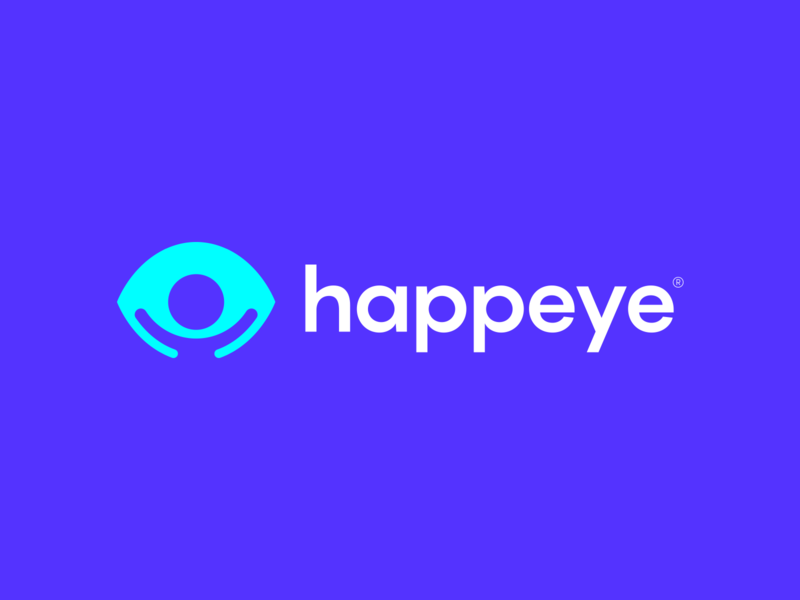 Happeye Logo Design iris vision glasses person happy eyes eye ui design clever lines brand identity symbol mark logo