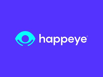 Happeye Logo Design iris vision glasses person happy eyes eye ui design clever lines brand identity symbol mark logo
