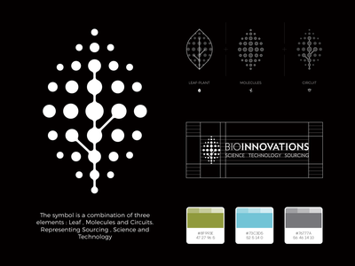 Bio Innovations Logo Design sourcing science and technology science circuit molecule plant leaf innovation bio smart design clever abstract lines brand identity symbol mark logo