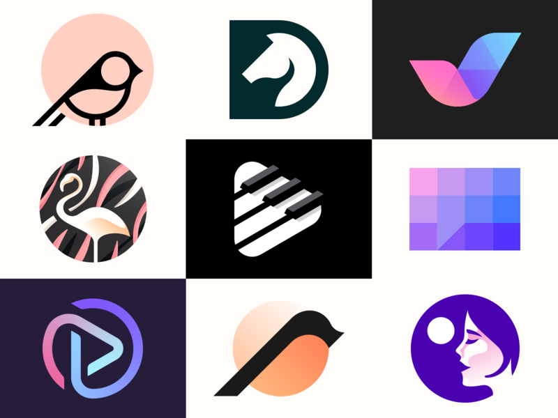 2019 Logo Collection identity branding collective flamingo girl talk checkmark button play horse bird collection clever animal design brand identity symbol mark logo