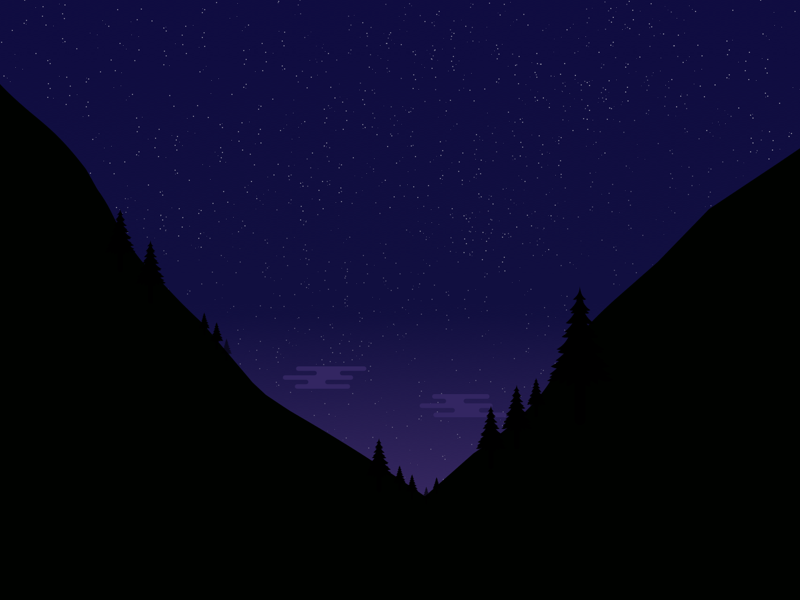 Starry Night! stars pinetrees mountains vector night landscape