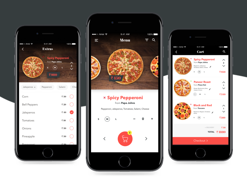 Pizza delivery app UI ios restaurant pizzadelivery ux ui app delivery food pizza