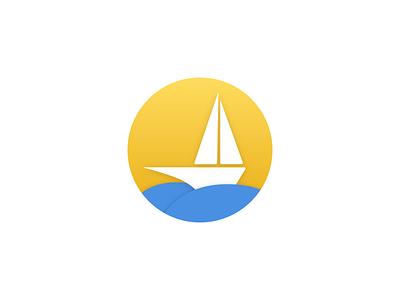 Boat gradients shadows icon illustration sea boat