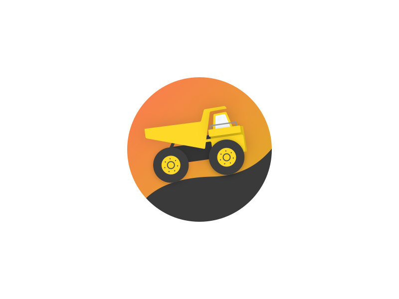 Truck sky road illustration gradients dumping pickup truck