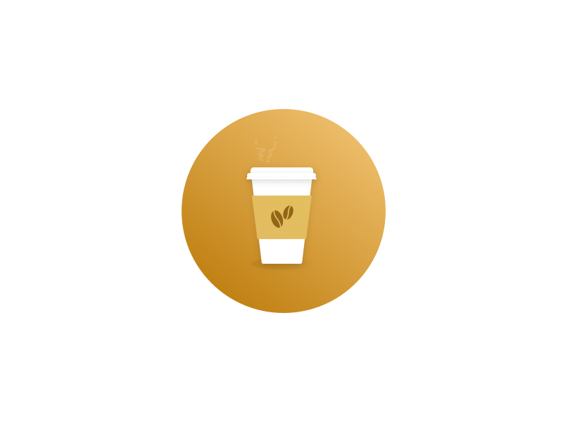 Coffee icon illustration shadows gradients caffeine coffee