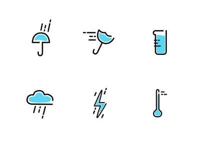 Weather line icons iconset blue line lineicons weather icons