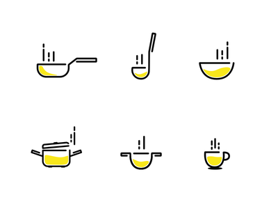 Kitchen line icons icon lineicons yellow line icons kitchen