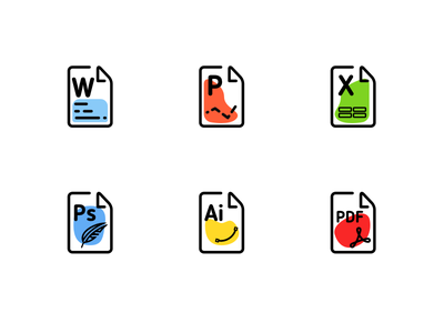 File Type icons adobe pdf illustrator excel powerpoint word photoshop filetype colors icons type file
