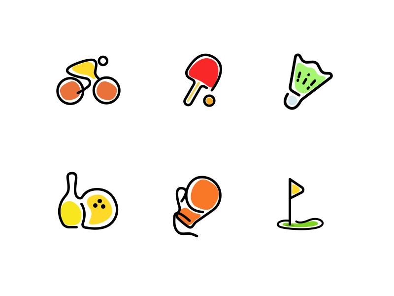 Sports Icon set golf boxing bowling badminton tennis table cycling iconset set icon sports