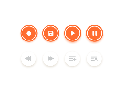 Audio control icons record skip pause play music audio icons