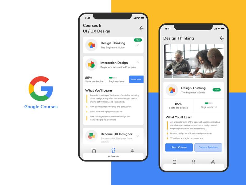 Google Courses App Concept appconcept uxcourses google courses app uidesign minimal ux design ui
