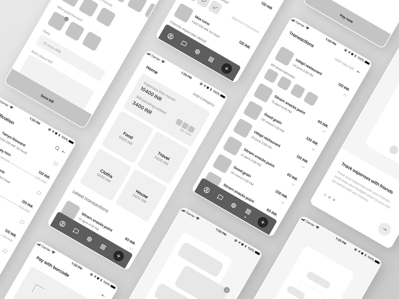 Share expenses Wireframes minimal trending process appdesign android user experience uxui planning ux simple wireframes app expenses share