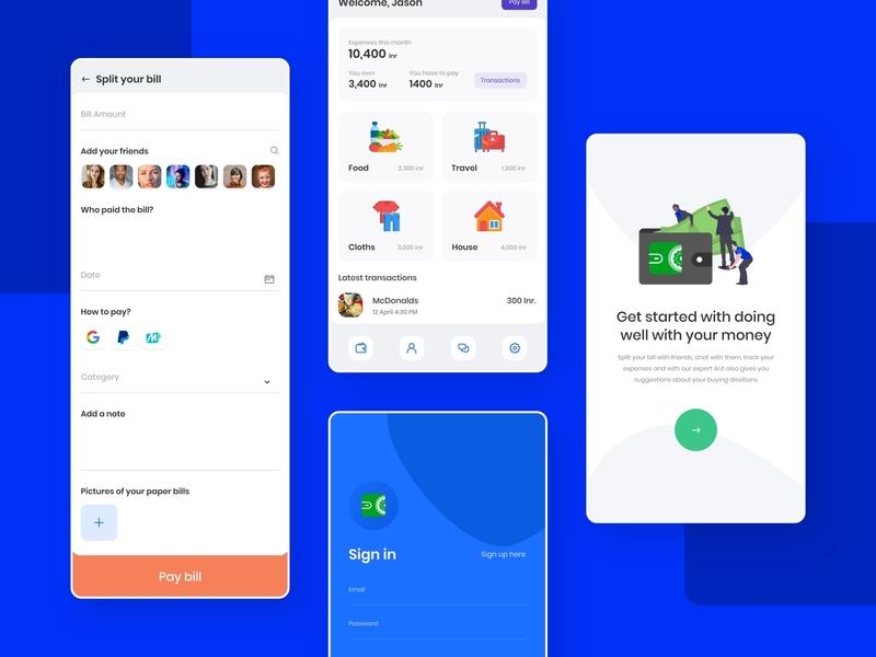 Billshare app branding app uidesign trending simple minimal ux dribbble design ui