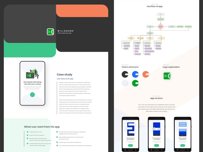 Billshare App case study presentation website typography branding uidesign trending simple minimal ux dribbble design ui