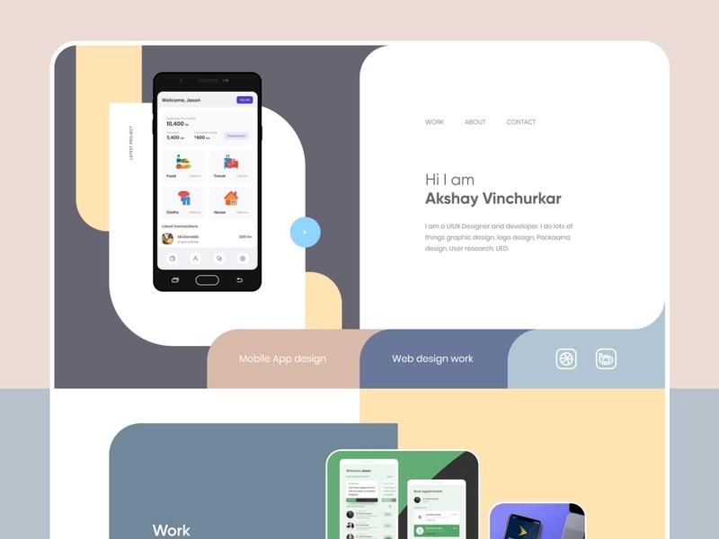 Portfolio site dailyui typography website uidesign trending simple minimal ux dribbble design ui