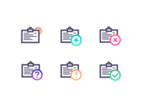 Action icons with gradients