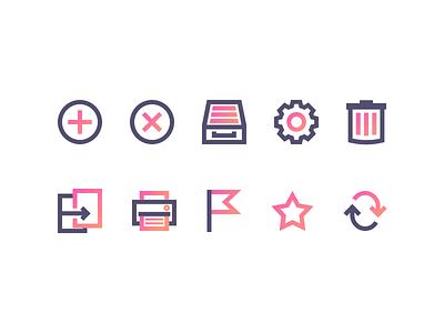 Generic icons with gradients refresh flag print copy config cog delete trash remove add gradient icon
