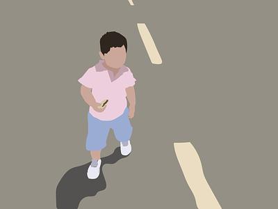 Luigi down the road sketch kid illustration