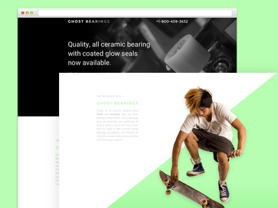 Ghost Bearing Design branding design colortheory graphicdesign landingpage green neon fastpace skateboard webdesign sport uiux