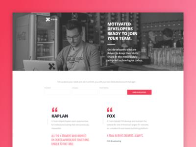 X Team General LP developer network jobs design colortheory graphicdesign landingpage xteam branding webdesign magenta uiux