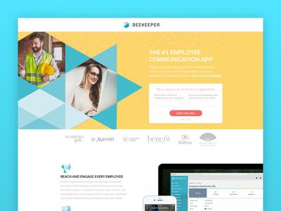 Beekeeper app design blue graphicdesign landingpage beekeeper yellow geometric saas webdesign software uiux